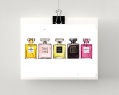 Print of COCO CHANEL perfume bottles in a by SproutGalleryDesigns