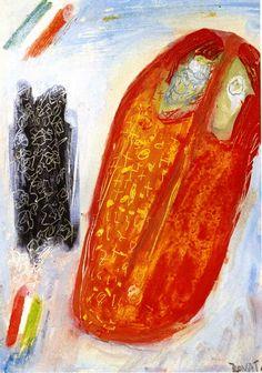 1970.11.43 Cesare Zavattini, Autoritratto rosso con bandiere