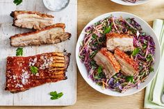 Create a mouth-watering dish with this Asian-glazed pork belly served with crisp winter slaw.