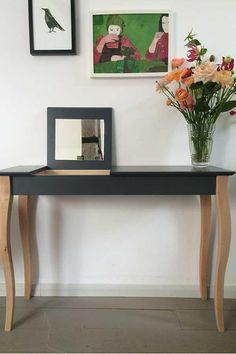 The diminutive scale of this console works beautifully in halls, foyers, and other small spaces. You can personalise tops and legs by choosing various colours. Console is a flat pack furniture, very simple to assemble, and easy to move around. Small Dressing Table, Dressing Table Mirror, Dressing Tables, Painted Furniture, Furniture Design, Scandinavian Furniture, Scandi Style, Light Turquoise, Contemporary Interior