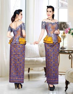 The Best Khmer Traditional Dress For Women 2015 - Sattrey African Print Dresses, African Fashion Dresses, African Dress, African Attire, African Wear, African Women, Myanmar Traditional Dress, Traditional Dresses, Thai Wedding Dress