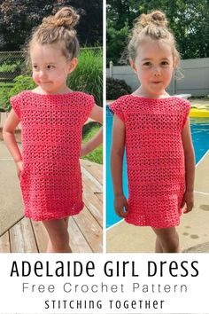 Adelaide Easy Crochet Girl Dress Stitching Together Adelaide Easy Crochet Girl Dress Stitching Together Easy crochet girl dress that works up quickly and will look adorable Crochet Spring Dresses, Crochet Dress Outfits, Crochet Girls Dress Pattern, Crochet Toddler Dress, Crochet For Kids, Easy Crochet, Crochet Clothes, Crochet Patterns, Dress Patterns