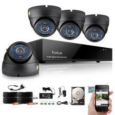 Funlux 8 Channel Full DVR Security Systems with HDD (Record up to 400 Days) HDMI Output 4 High Resolution IR-Cut Night Vision Surveillance Camera Weatherproof Home Security Systems QR Code Super Easy Set Up Push Alerts on Cell Phones Free App Diy Home Security, Security Cameras For Home, Safety And Security, Security Cams, Dvr Security System, Home Security Systems, Line Camera, Wireless Camera, Home Protection