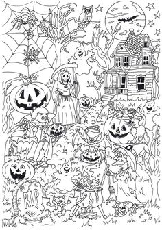 Joli flippant en coloriant ce coloriage d'Halloween de NoAgeColouring @ Suuz, … – Karácsony - Pour Vous House Colouring Pages, Fall Coloring Pages, Adult Coloring Book Pages, Coloring For Kids, Coloring Books, Image Halloween, Halloween Crafts, Desenhos Halloween, Halloween Coloring Sheets