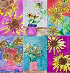 The Lost Sock : SunFlower StillLife (step by step instructions for drawing sunflowers)