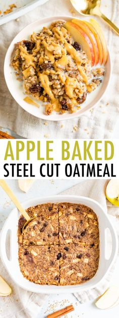 This apple cinnamon baked steel cut oatmeal recipe is a lovely make-ahead breakfast option for busy mornings. Studded with sweet apple chunks, raisins and cinnamon, these oats will satisfy your taste-buds and keep you feeling full all morning. #glutenfree #vegan #bakedoatmeal #holidayfood #fallbreakfast #healthyrecipe #oatmeal #applecinnamon Baked Steel Cut Oatmeal, Baked Oatmeal Cups, Baked Oats, Baked Apples, Steel Cut Oats, Healthy Oatmeal Recipes, Oats Recipes, Healthy Baking, Cooking Recipes