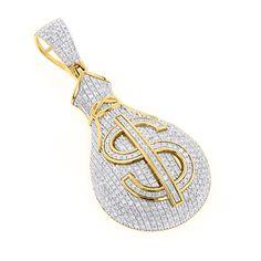 Hip Hop Jewelry: 10K Gold Diamond Money Bag Pendant 1.15ct