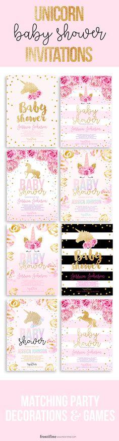 Unicorn baby shower invitations, magical unicorn party decorations, unicorn baby shower games, DIY unicorn baby shower, pink and gold baby shower invitations.