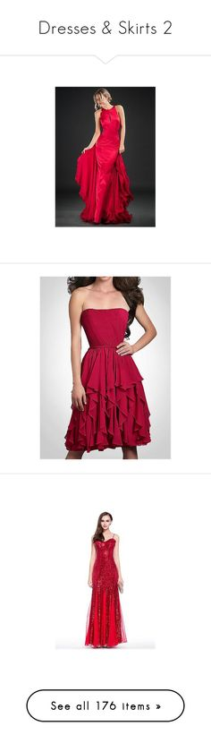 """Dresses & Skirts 2"" by kaylanoelbryan on Polyvore featuring dresses, short dresses, red chiffon dress, red dress, a line dress, strapless chiffon dress, white sheath dress, sequined dresses, white lace cocktail dress and white dress"