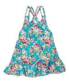 Look at this #zulilyfind! Teal Floral Ruffle Hi-Low Dress - Infant, Toddler & Girls #zulilyfinds