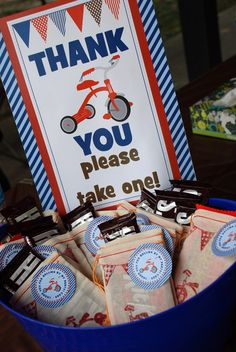 party favor sign and tags trike tricycle bike birthday party vintage retro