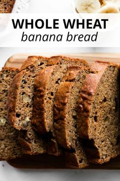 This whole wheat banana bread is made without oil and butter. Rather, applesauce is used to give the bread moisture. Healthy Bread Recipes, Healthy Banana Bread, Banana Bread Recipes, Healthy Baking, Loaf Recipes, Banana Bread With Applesauce, Whole Wheat Banana Bread, Whole Wheat Banana Cake Recipe, Apple Banana Bread