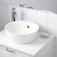 IKEA KATTEVIK countertop wash-basin Unique water trap design gives room for a full sized drawer. Sink Countertop, Kitchen Countertops, Granite Sinks, Kitchen Cabinets, Wood Counter, Ikea Canada, Steel Seal, Cheap Kitchen Remodel, Remodel Bathroom