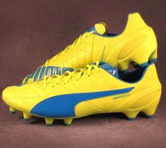 de9161b9a78d50 Puma EvoSpeed 1.4 Leather FG Soccer Cleats Size 11.5 Volt Blue  Puma Blue  Pumas