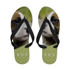 Cute dreamy photo of a sweet and innocent boxer puppy dog on flip flops sandals. The colors are sage green, green, and fawn brown. Perfect gift for the boxers lover.