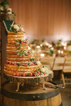 Asymmetrical naked wedding cake   Taylor and Joshua's Woodland Deer-Themed Rustic Wedding   photography by Allie Siarto via Love Inc. #diywedding #barnwedding #rusticwedding