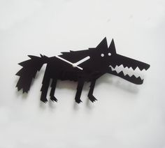 Big Bad Wolf black acrylic wall clock (available in a range of colours)- ETSY