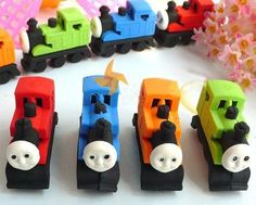 Thomas and Friends Railway Erasers Set of 4 Assorted Characters by DelightStore. $9.59. Brightly colored to attract attention. Colors may vary a bit from the pictures. Larger than standard erasers. Collectable, gifts, rewards, party favors, stocking stuffers. Eco-friendly, non-toxic, no PVC, lead free. For kids over 3 years old. Each set comes with 4 erasers of unique characters . It is also an excellent decoration in bedroom and makes studies more fun and int...