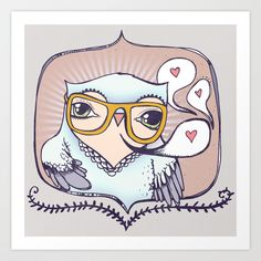 Hipster Owl Art Print by Ugly Yellow | Society6
