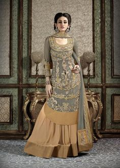 Beige georgette lehenga crafted with patch border work. Grey net long length choli features stone, zari and resham embroidery work and grey chiffon dupatta are available with this