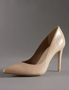 Leather Stiletto Pointed Toe Court Shoes with Insolia®