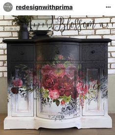 Beauty Evolves From Darkness Repurposed Furniture Beauty Darkness Evolves Funky Furniture, Decoupage Furniture, Floral Furniture, Decor, Paint Furniture, Black Painted Furniture, Diy Furniture, Painted Furniture, Redo Furniture
