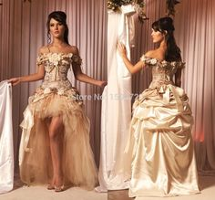 Find More Wedding Dresses Information about Victoria Off the Shoulder Champagne Wedding Dress 2015 Vestidos de Novia Hi Lo Vintage Lace Corset Gothic Bridal Wedding Gowns,High Quality dresses nj,China dresses ladies Suppliers, Cheap gown dresses for sale from The Oriental Venice on Aliexpress.com