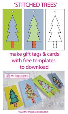 Free to download 'stitch tree templates'. Make your own xmas gift tags and encourage kids to learn to sew