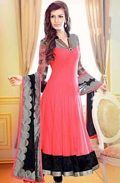 Latest Indian Anarkali Salwar Kameez Samyakk brings to you this latest pink colour georgette designer salwar suit online which is embellished with beautiful resham work and is an ideal party wear.: Style Shops, Anarkali, Fashion, Readymade Anarkali, Anarkali Suits, Anarkali, Indian Clothing, Design Salwar Suits, Parties Wear