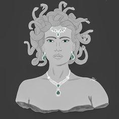 Medusa y esmeralda Medusa, Green Stone, Illustrations, Jellyfish