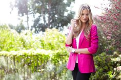 Karen Kane's Bright Pink 3/4 Sleeve Shirred Blazer