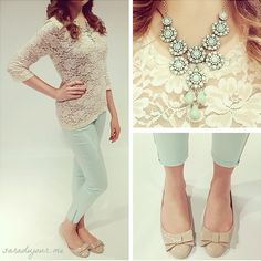 Fun Spring outfit and lovely colors for a Soft! Lace top, mint pants and beige bow shoes are darling!