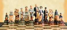 """American Civil War Themed Chess Pieces – Studio Anne Carlton designer hand painted chessmen with a big 5"""" king. Chess board is not included. #civilwarchessmen"""