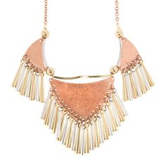 Savannah Mixed Metal Triangles and Tube Fringe Statement Necklace | Icing