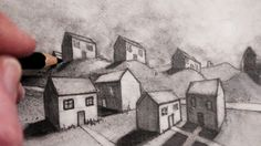 How to draw houses in 2 point perspective - good Colorful Drawings, Easy Drawings, Pencil Drawings, Pencil Sketching, One Point Perspective, Perspective Drawing, Teaching Drawing, Teaching Art, Online Drawing Course