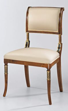 DECORATIVE CRAFTS - English Regency style side chair in satinwood finish with antiqued goldleaf and dark walnut accents and gold patterned upholstery. Made in I...