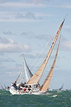 The Ker 9m yacht 'Sunshine' competing in a class 3 IRC race during Aberdeen Asset Management Cowes Week #sailboats #boats #sailing