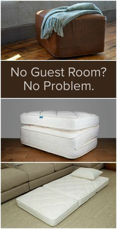 No Guest Room - No Problem OoRoo is a space-saving bed that transforms from a stylish ottoman to a luxurious guest bed in minutes.