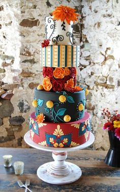 Bold and colorful! Wedding Cakes Photos on WeddingWire