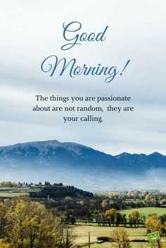 Good Morning. The things you are passionate about are not random, they are your calling.
