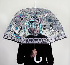 This illustrated umbrella was drawn by two of our favourite artists from the US - Rob Corradetti and Kim Sielbeck