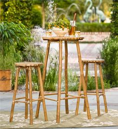 Main image for Bamboo Bistro Set, Bar Height Table and Stools