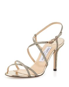 Elaine+Strappy+Glitter+Sandal,+Light+Bronze+by+Jimmy+Choo+at+Neiman+Marcus.