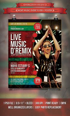Night Music Flyer / Poster — Photoshop PSD #event #music • Available here → https://graphicriver.net/item/night-music-flyer-poster/14377167?ref=pxcr