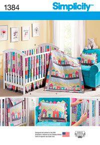 Crib Sheet, Dust Ruffle, Quilt, Pillow, Vertical Bumpers Simplicity Pattern 1384.