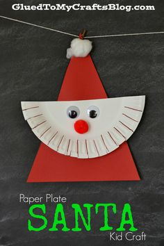 Paper Plate Santa {Kid Craft} - the perfect craft to do with your child this holiday season! Preschool Christmas Crafts, Santa Crafts, Christmas Crafts For Kids To Make, Daycare Crafts, Christmas Activities, Toddler Crafts, Christmas Projects, Preschool Crafts, Kids Christmas