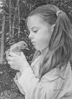 <3 girl with a little baby bird