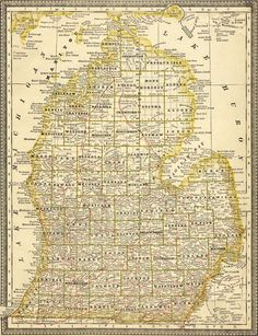 Michigan State 1881 by Rand McNally Historic Map. A wide and growing selection of inexpensive reprints of rare Historic Maps are available from Hearthstone Legacy Publications at: http://www.hearthstonelegacy.com/Historic-Map-Reprints.htm