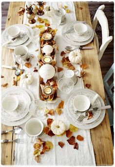 Set a beautiful autumn table with seasonal touches from the nature around you…