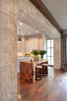 Amazing Home Stone Interior Design - Decoration Stone Wall Living Room, Living Room Decor, Stone Interior, Interior Walls, Interior Columns, Kitchen Room Design, Interior Design Kitchen, Tuscan Decorating, Interior Decorating